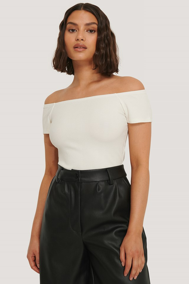 Off Shoulder Short Sleeve Top Offwhite