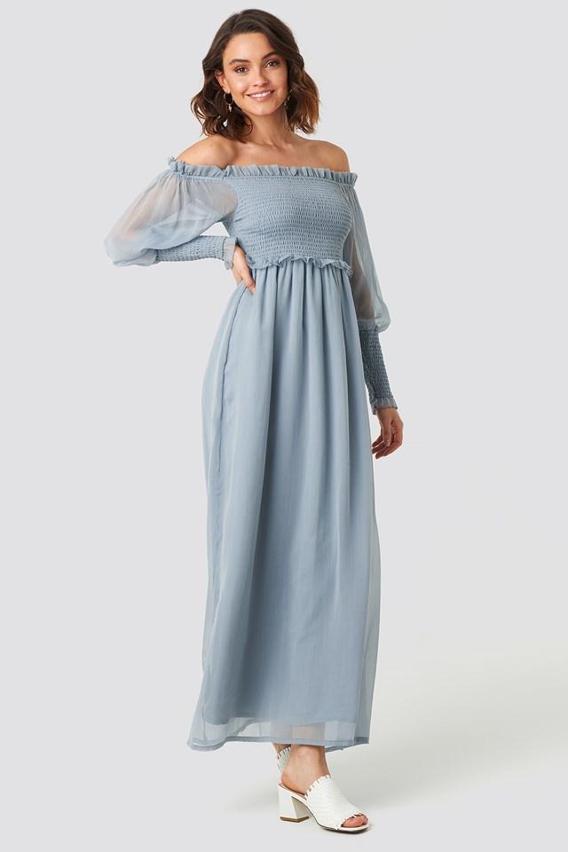 Off Shoulder Smock Chiffon Dress Light Blue