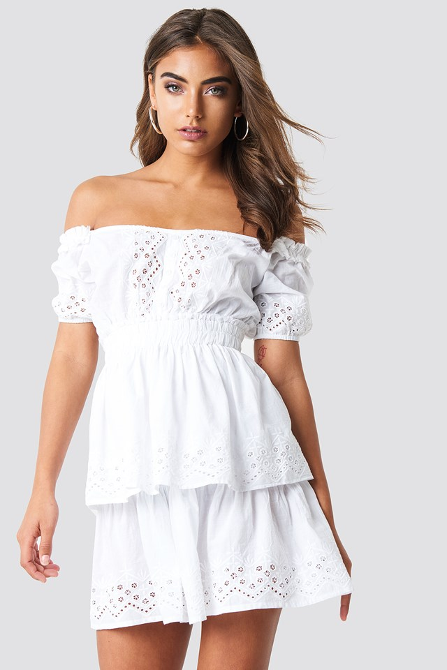 Off Shoulder V Neck Crochet Frill Dress White