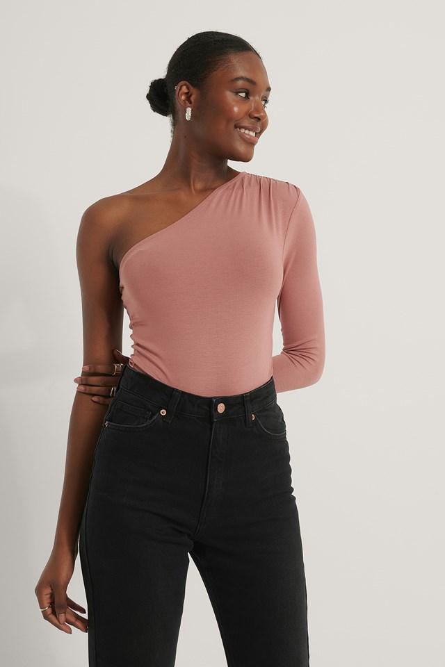One Shoulder Draped Body Dusty Dark Pink
