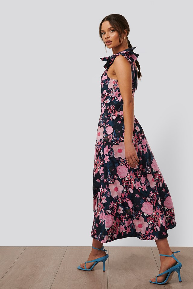 Dark Poppy Flower Sukienka Midi Odsłaniająca Jedno Ramię