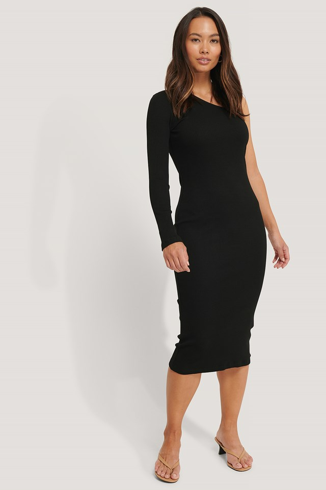 Black One Shoulder Ribbed Midi Dress