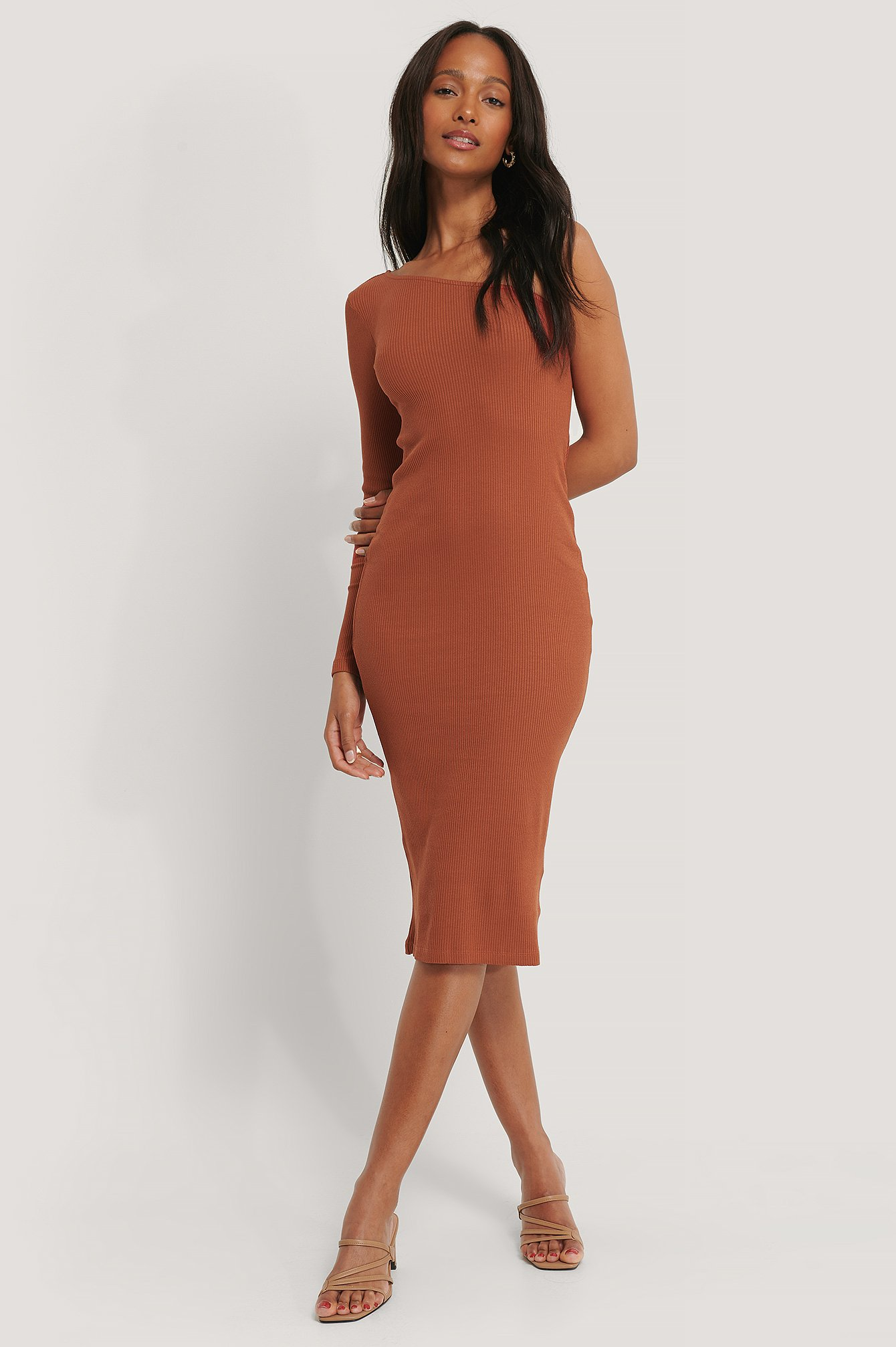 Orange One Shoulder Ribbed Midi Dress