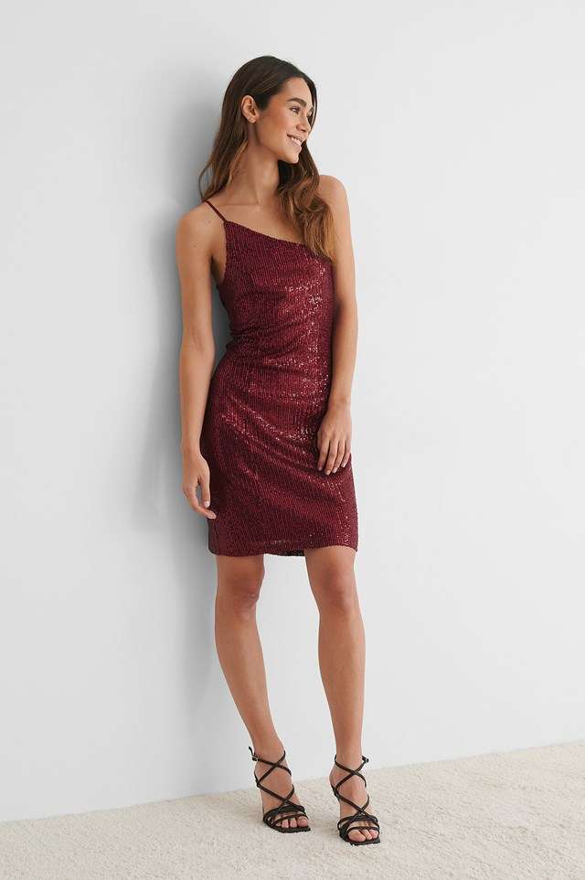 One Shoulder Sequin Dress Burgundy