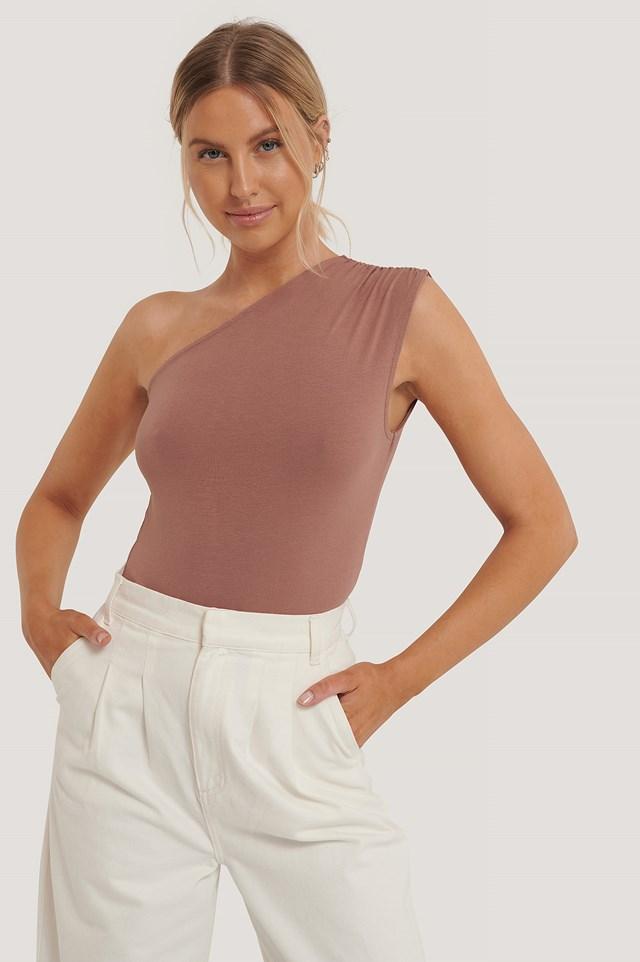 One Shoulder Sleeveless Body Dusty Pink