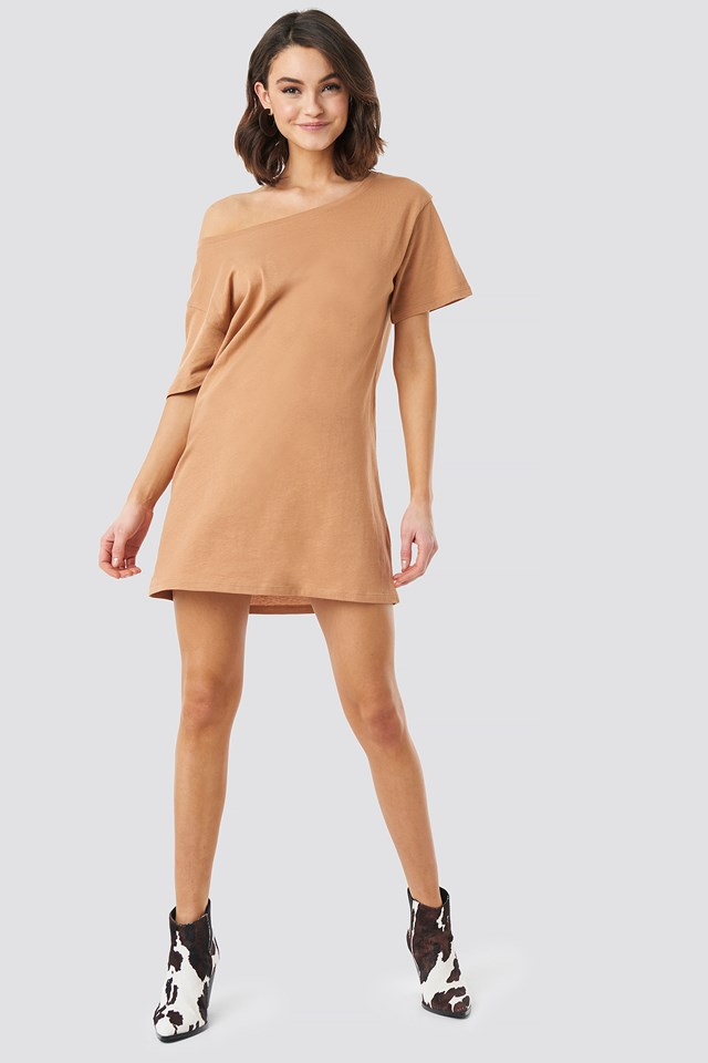 One Shoulder T-shirt Dress Tan