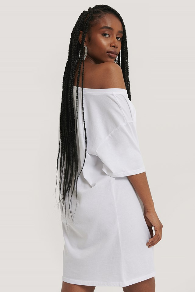 One Shoulder T-shirt Dress White