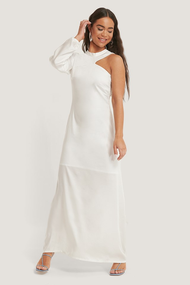 One Sleeve Maxi Dress Offwhite