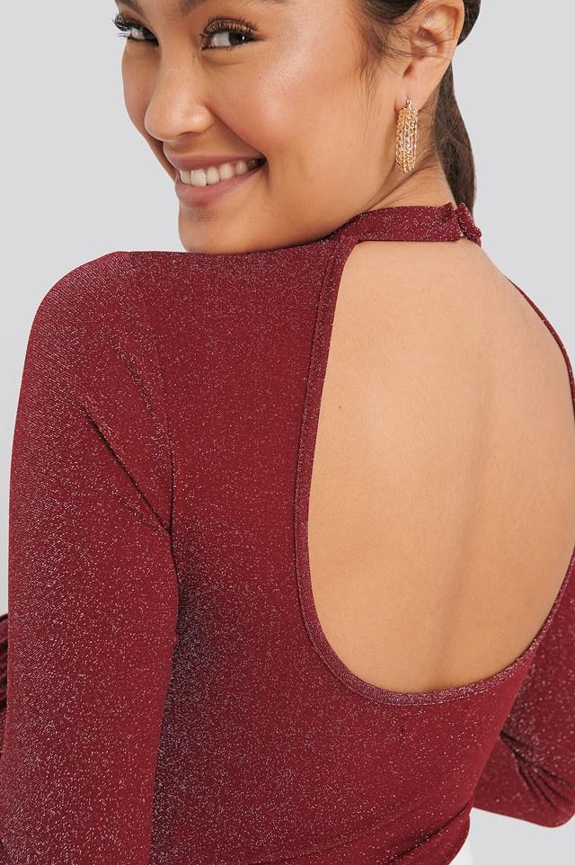 Open Back Glittery Body Red