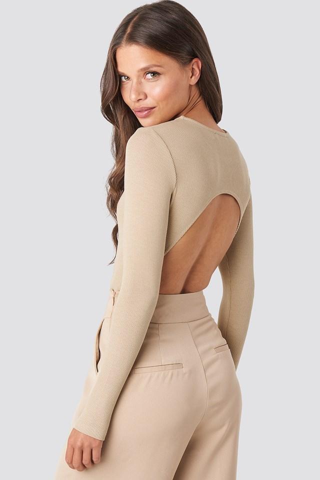 Beige Open Back Bodysuit