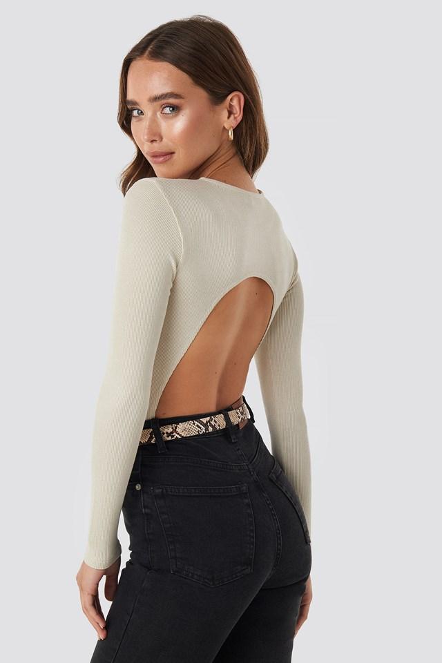 Open Back Bodysuit Off White