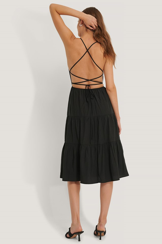 Open Back Flounce Dress Black