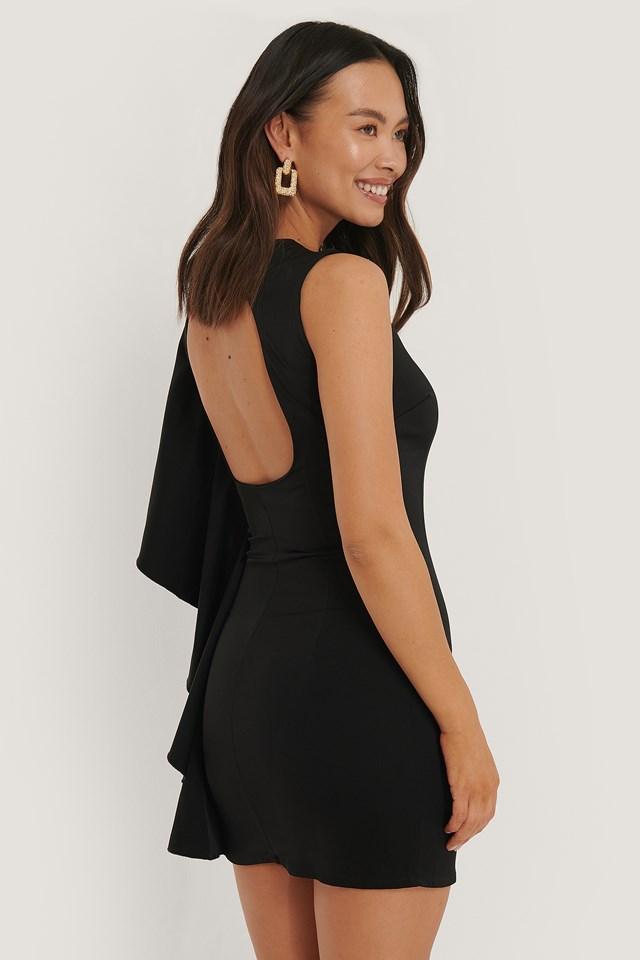 Open Back Frill Detail Dress Black