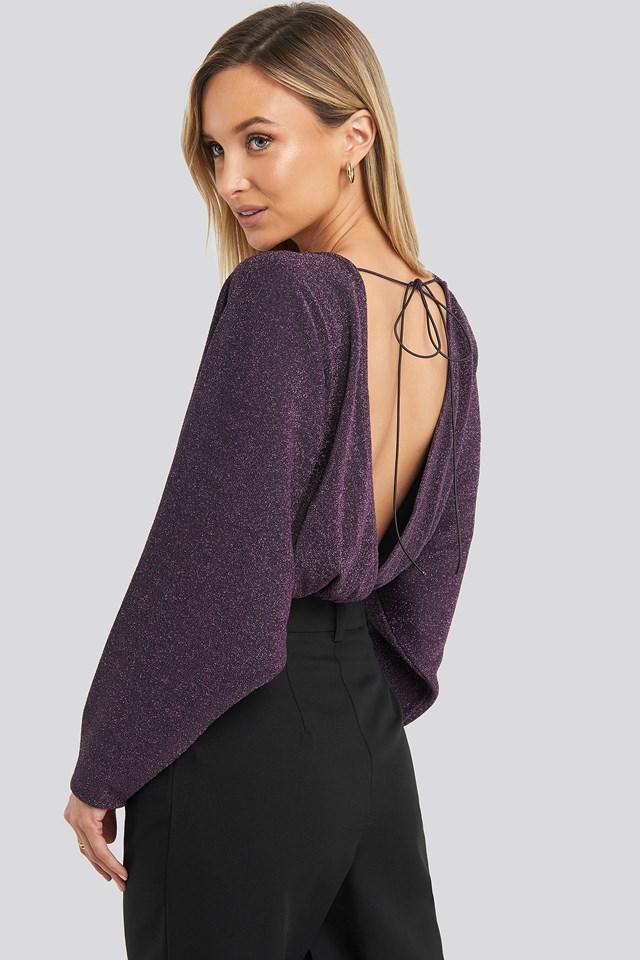 Open Back Plunge Neck Lurex Bodysuit Purple