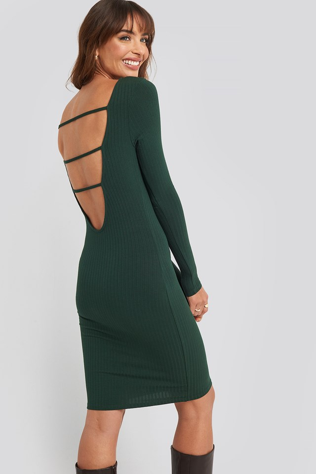 Open Back Ribbed Mini Dress Dark Green