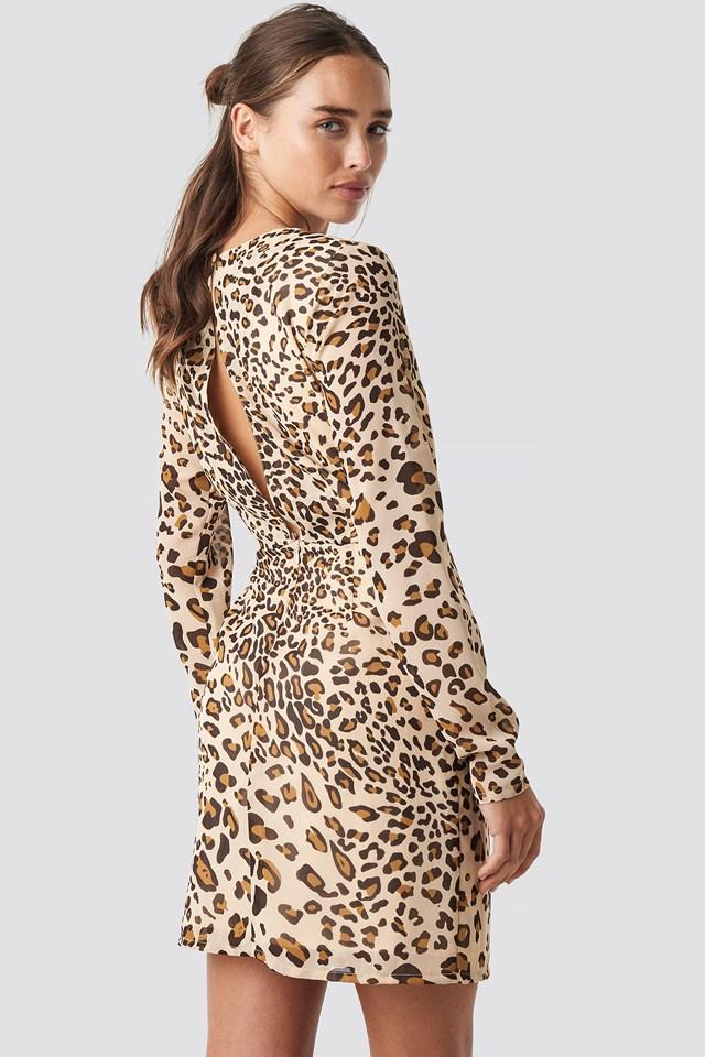 Open Back Short Dress Black/Beige Leo Print