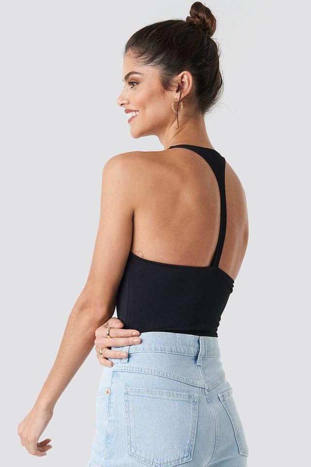 Open Back Strap Detail Body Black
