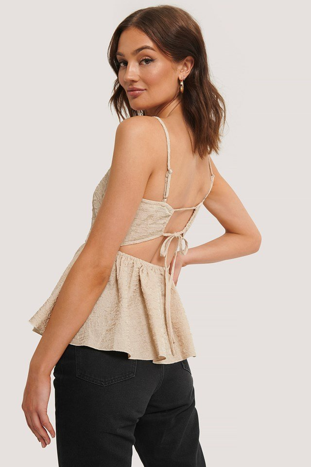 Open Back Structured Top Beige