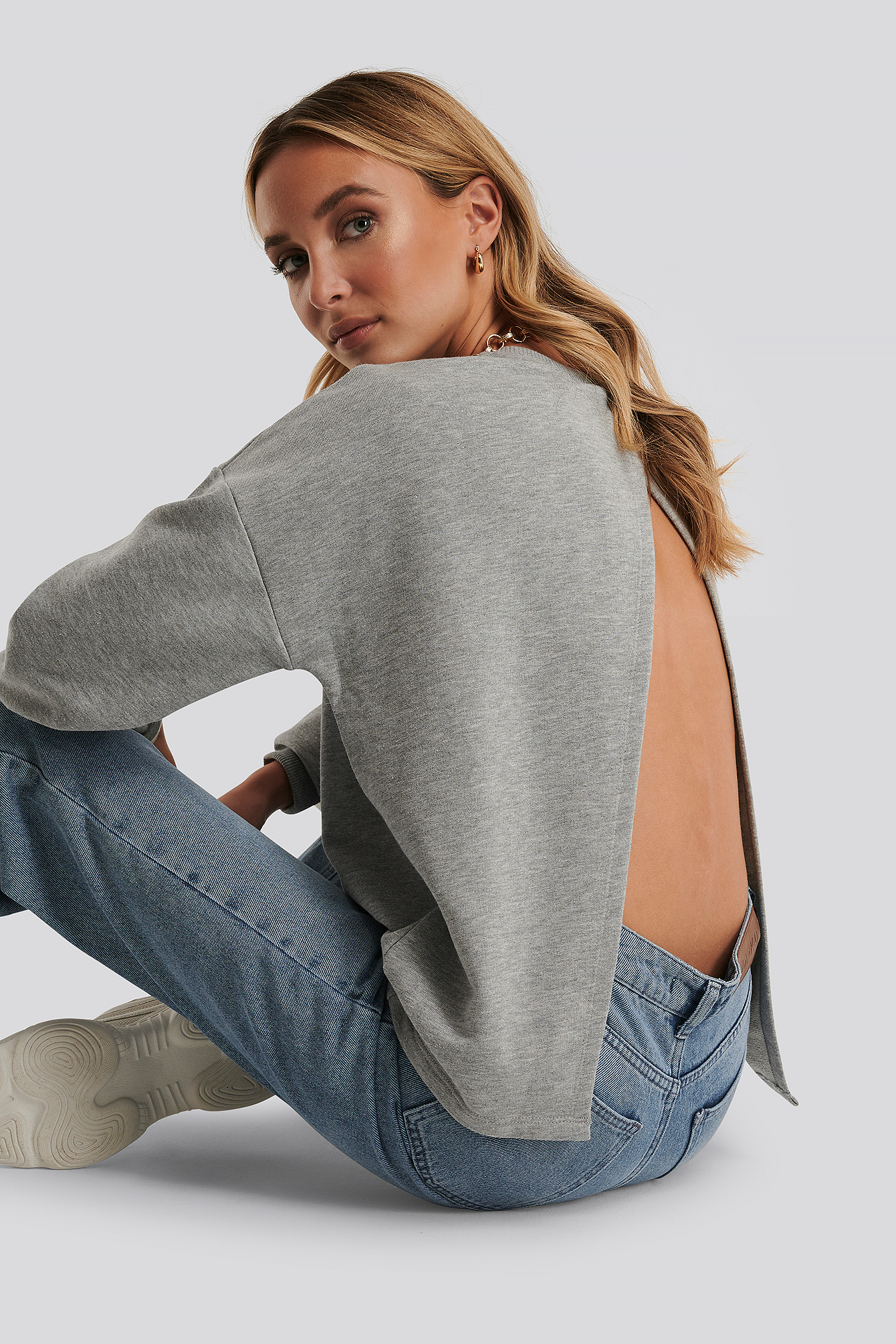 Grey Melange Open Back Sweatshirt