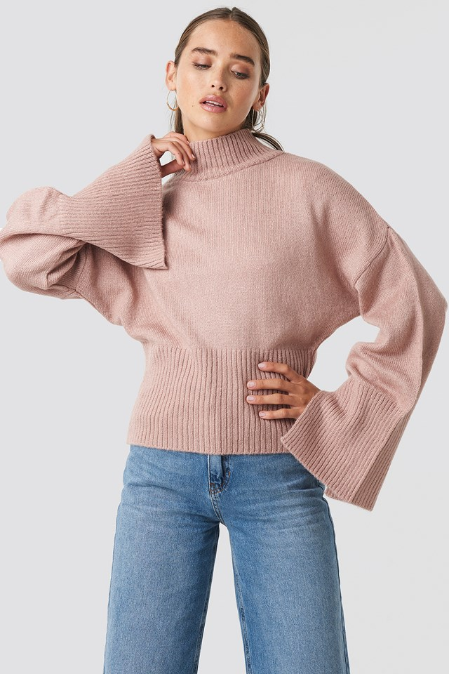 Open Sleeve Knitted Sweater Pink