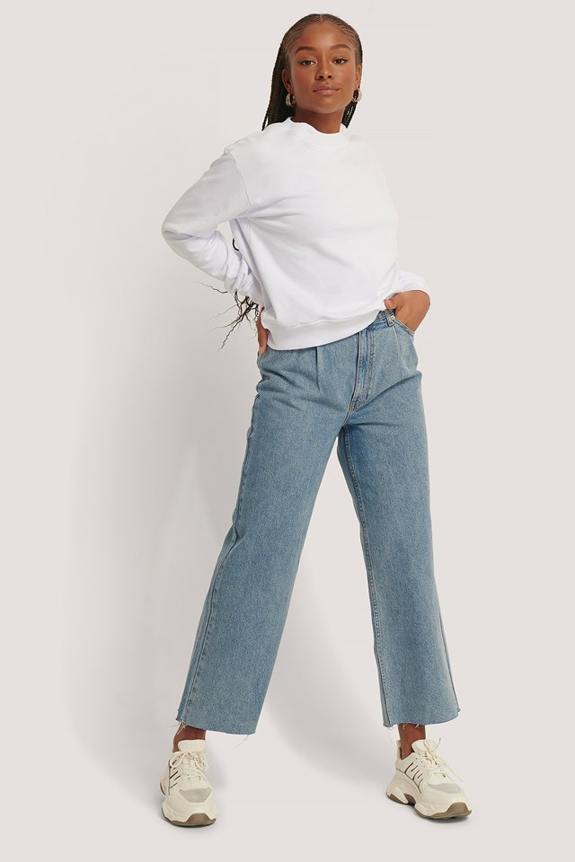 Organic Cotton Pleat Detail Jeans Light Blue