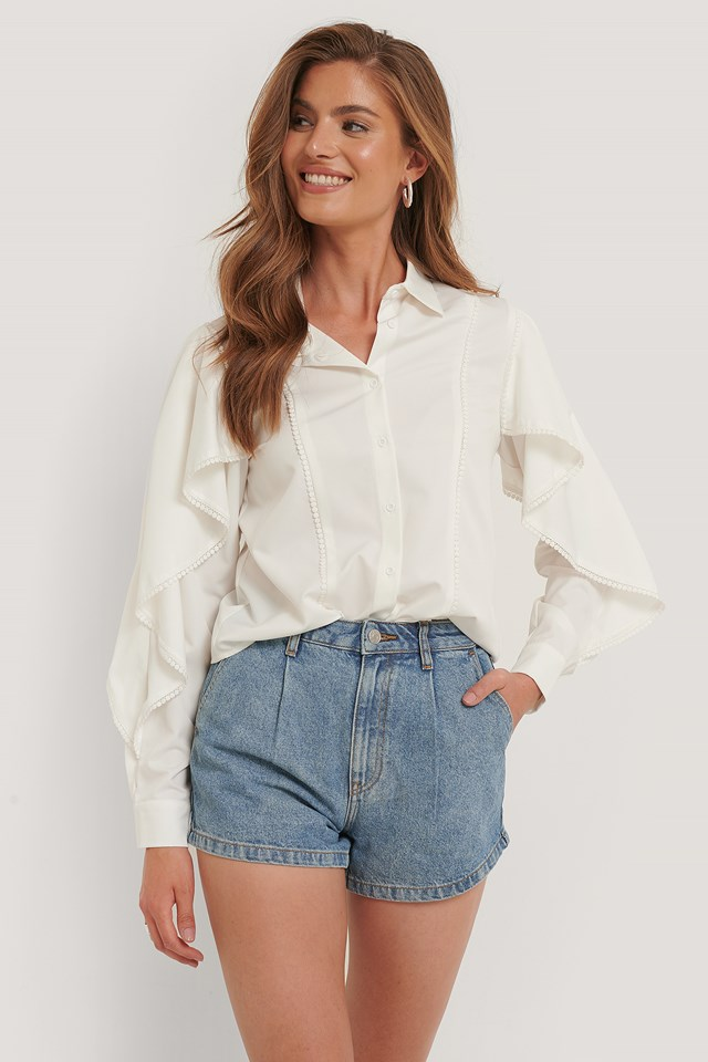 Organic Cotton Pleat Detail Shorts Light Blue
