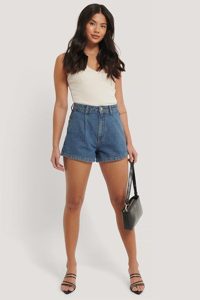 Organic Cotton Pleat Detail Shorts Mid Blue