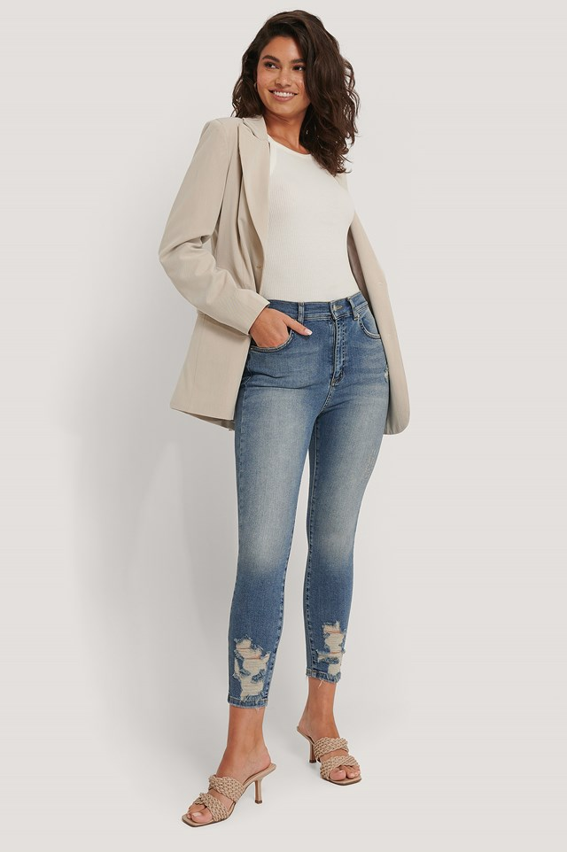 Organic Cotton Ripped Hem Skinny Jeans Mid Blue