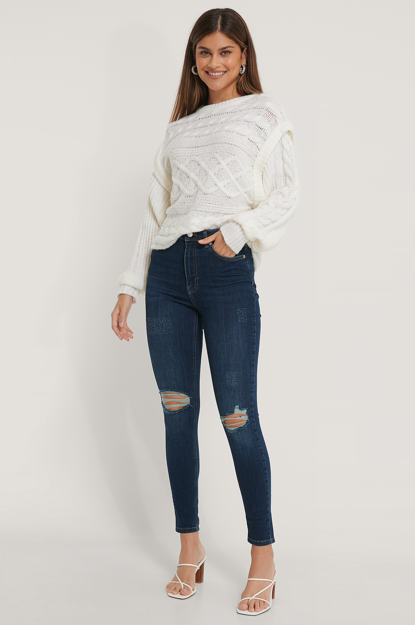 Dark Blue Organic Skinny High Waist Destroyed Jeans