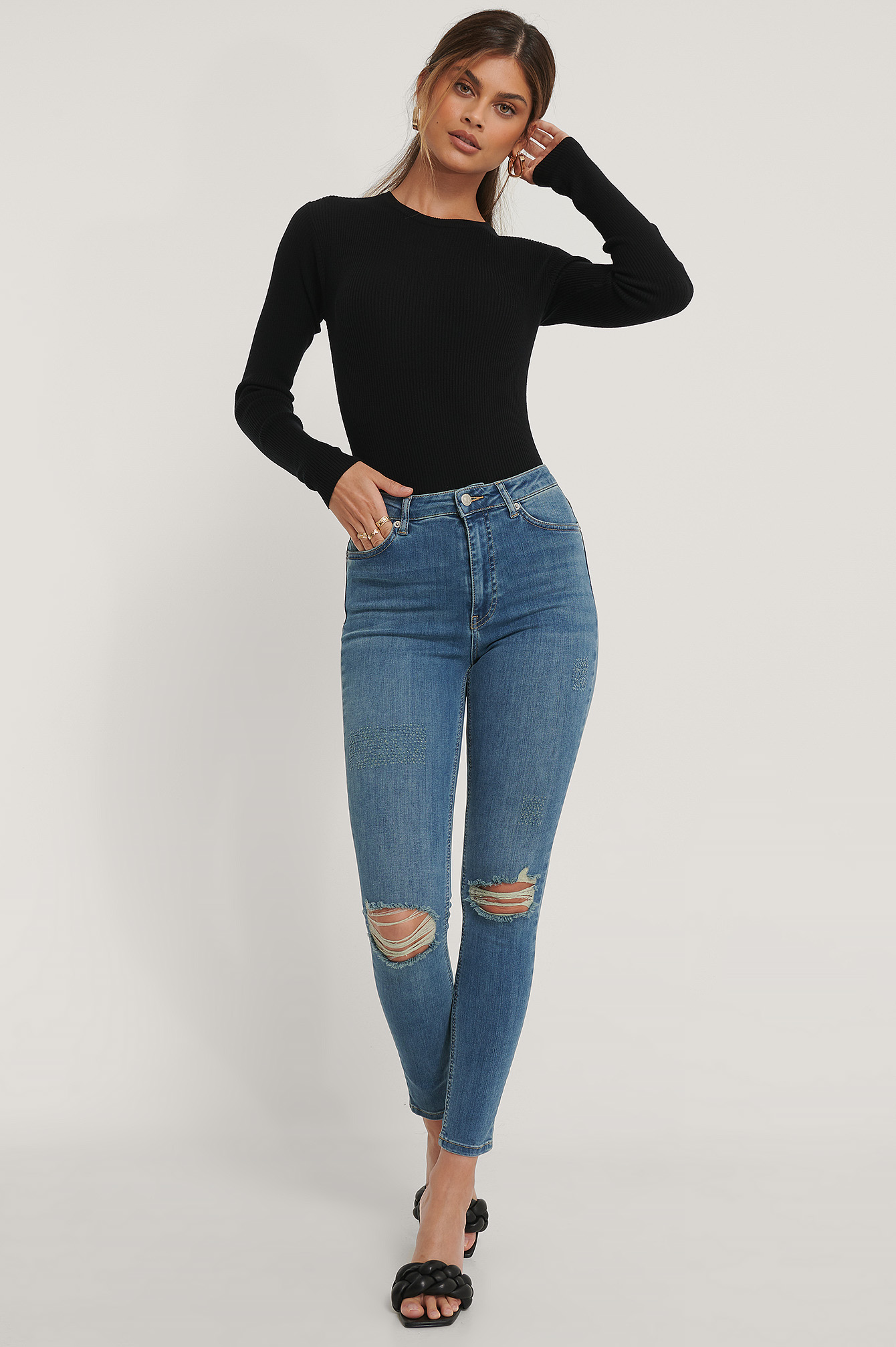 Mid Blue Organic Skinny High Waist Destroyed Jeans