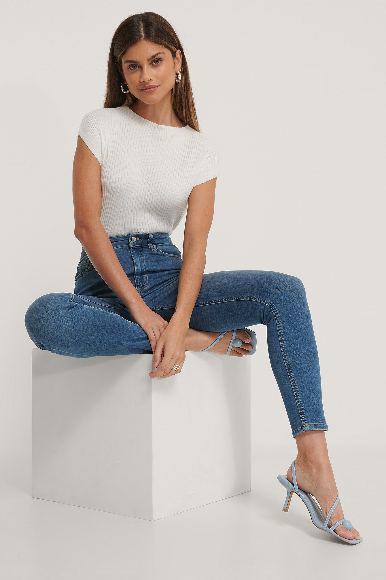 Mid Blue Skinny High Waist Jeans