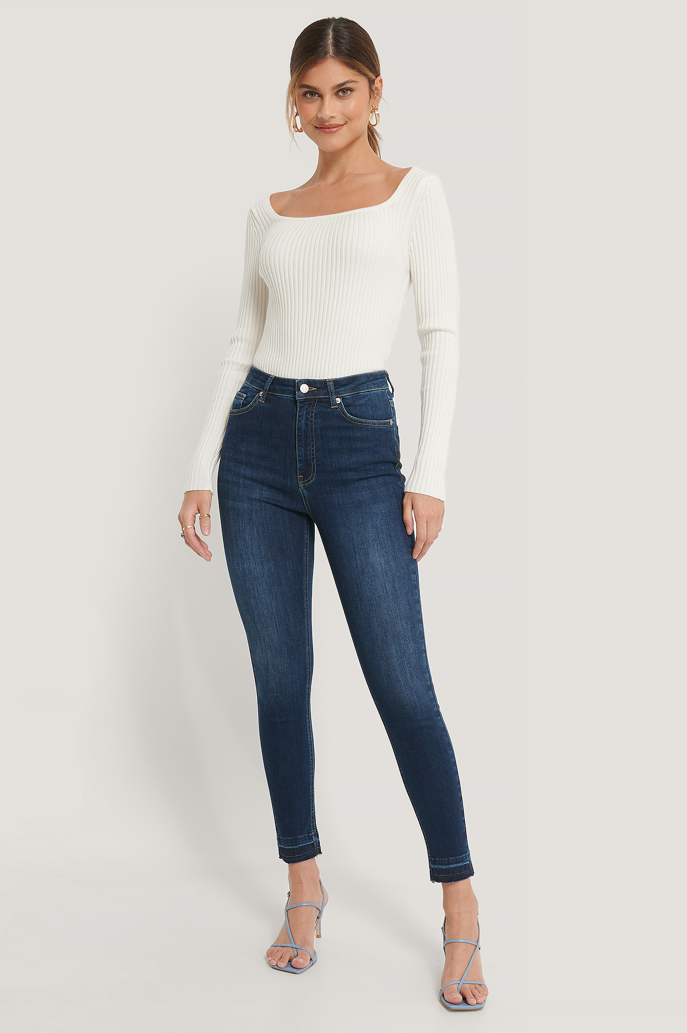 Dark Blue Organic Skinny High Waist Open Hem Jeans