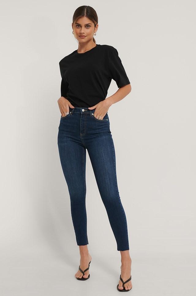 Dark Blue Organic Skinny High Waist Raw Hem Jeans