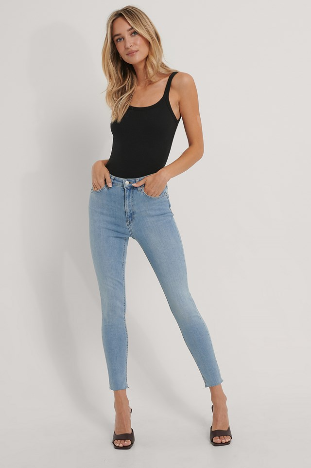 Light Blue Organic Skinny High Waist Raw Hem Jeans