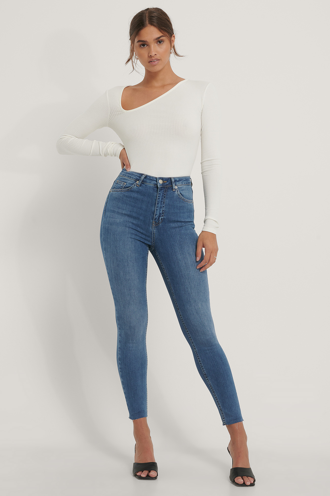 Mid Blue Skinny High Waist Raw Hem Jeans