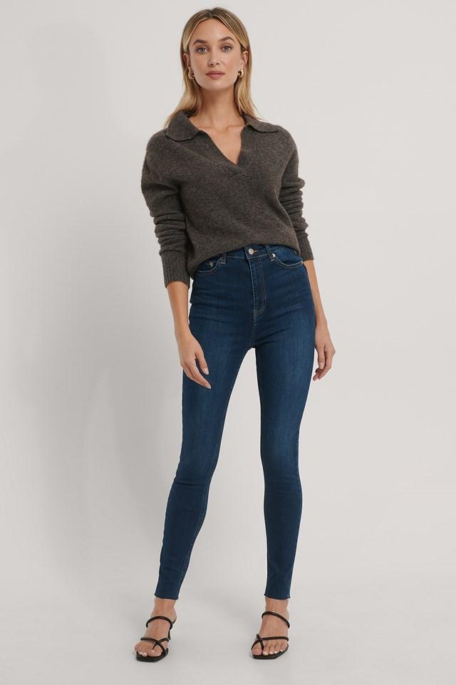 Organic Super High Waist Skinny Jeans Dark Blue