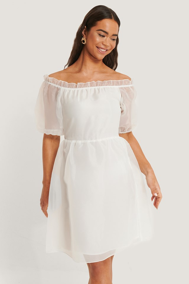 Organza Puff Off Shoulder Dress Offwhite