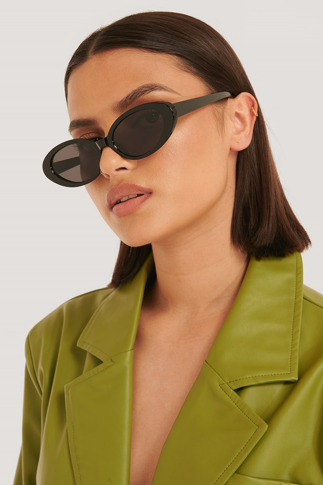 Oval Retro Sunglasses Black