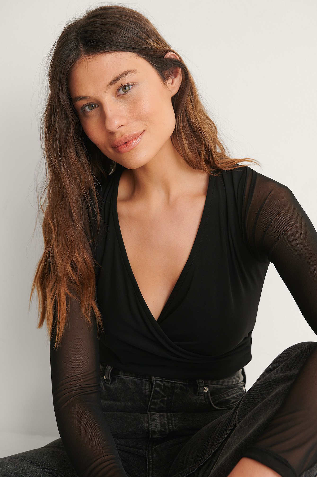 Black Overlap Detail Mesh Top