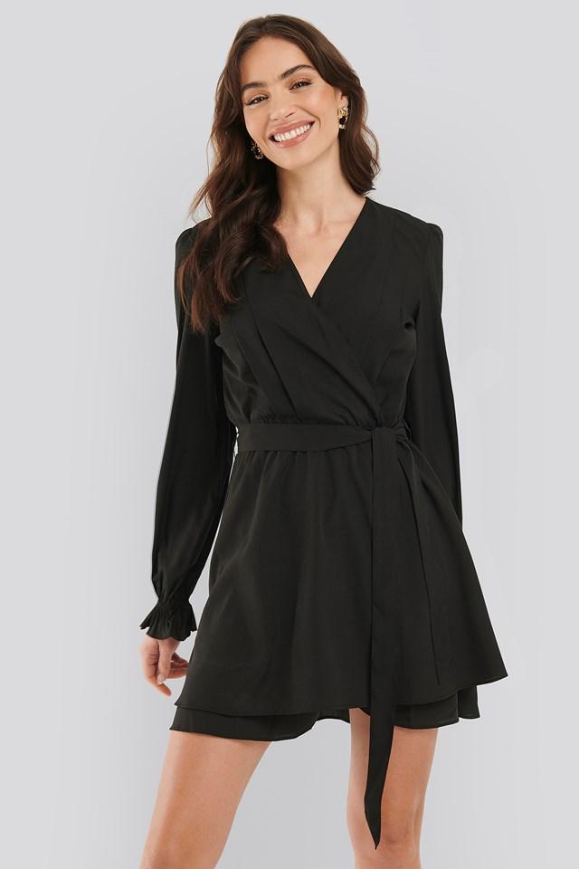 Overlap Draped Mini Dress Black