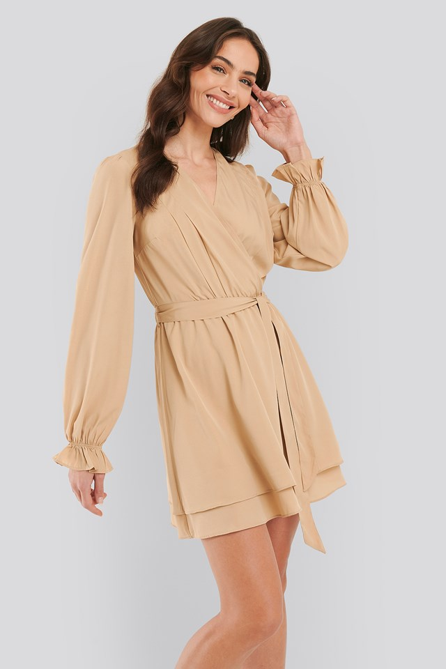 Beige Overlap Draped Mini Dress