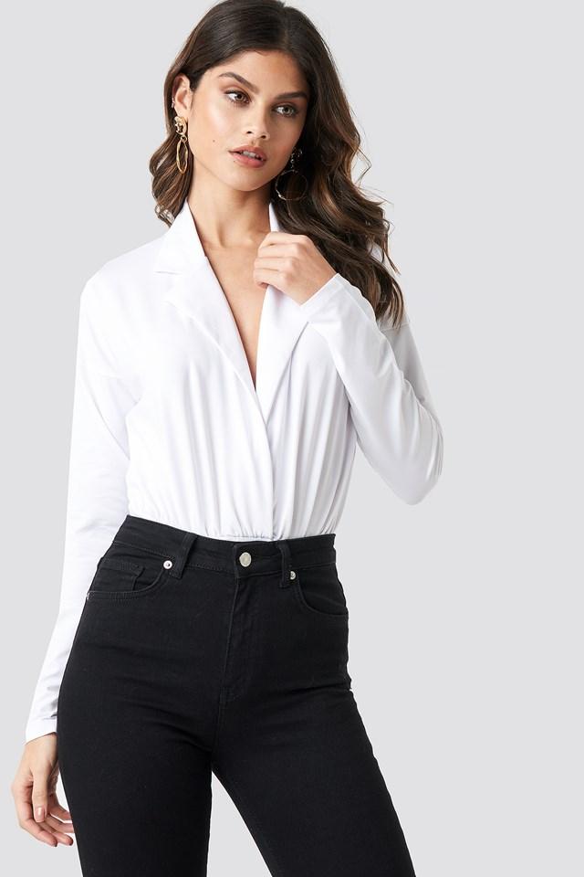 Overlap Long Sleeve Bodysuit White