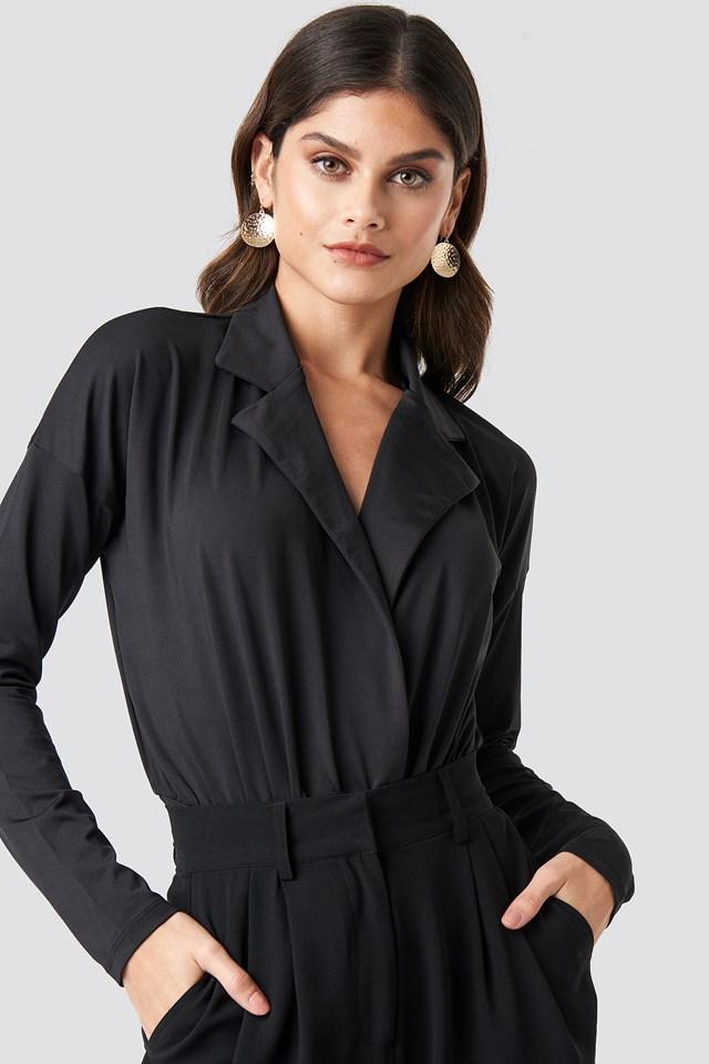 Overlap Long Sleeve Bodysuit Black