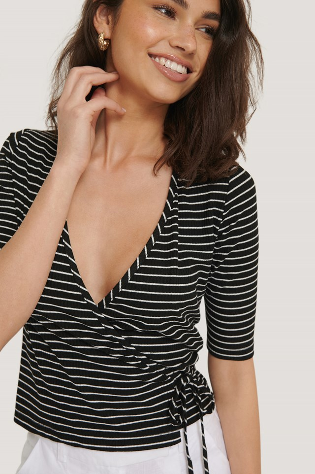Black Overlap Striped Top