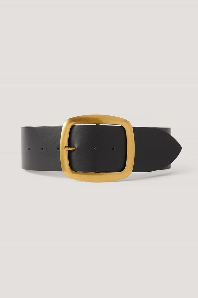 Oversize Buckle Waist Belt Black/Gold