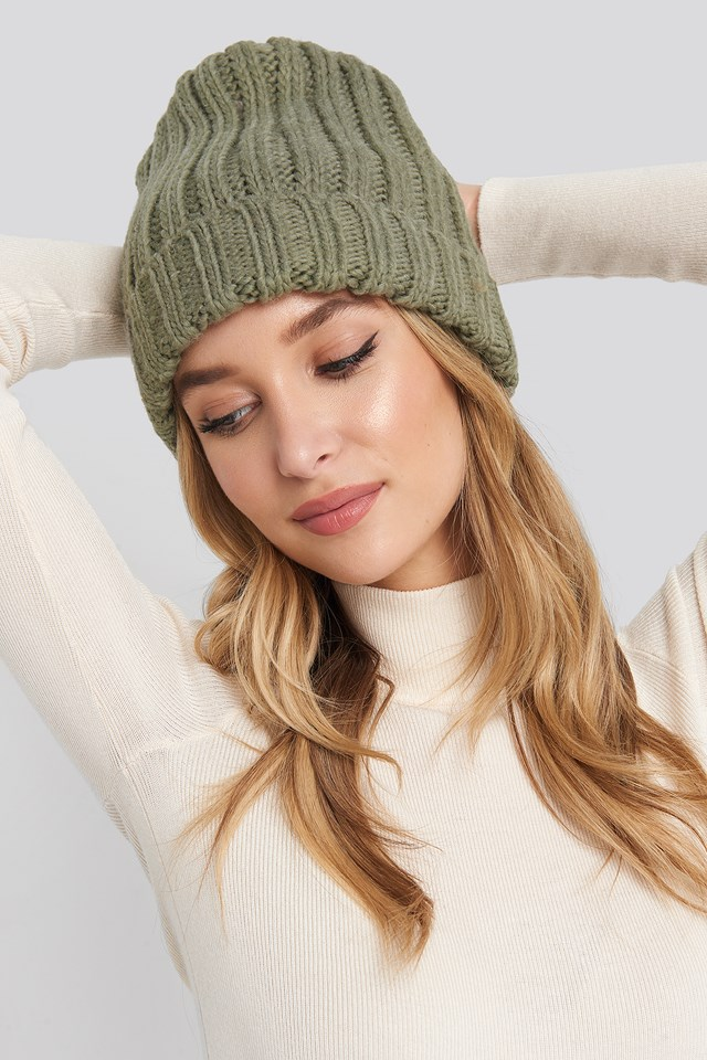 Oversize Chunky Beanie Dusty Green
