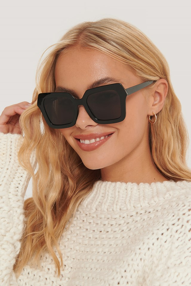 Oversize Retro Squared Edge Sunglasses Black