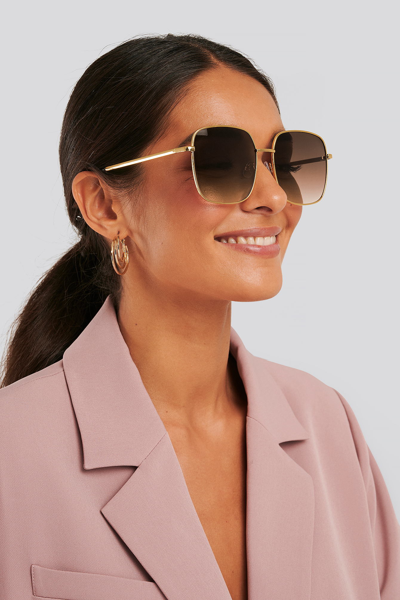 Gold Oversize Retro Sunglasses