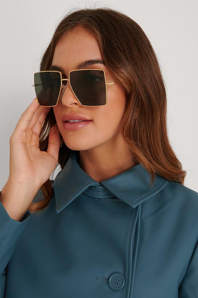 Gold Oversize Square Frame Sunglasses