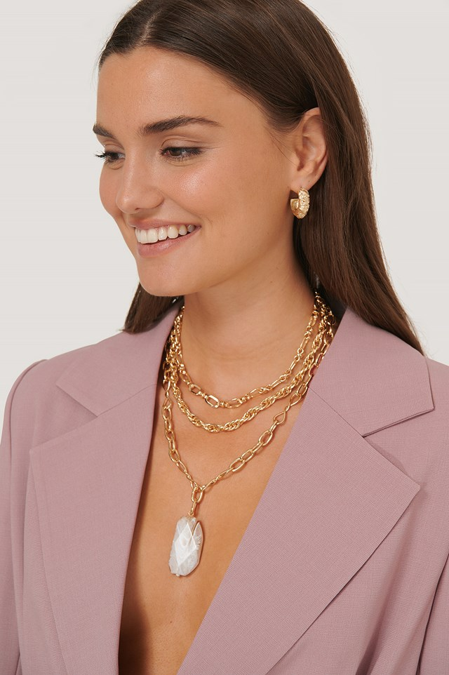 Oversize Stone Pendant Chain Necklace Gold